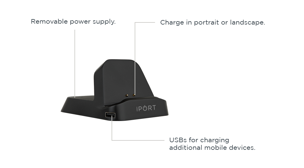 IPORT Charge Stand, the black iPad wireless charging station by IPORT.
