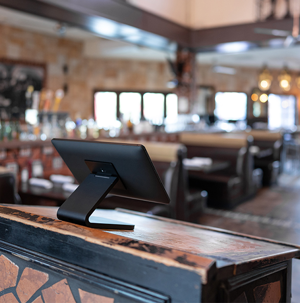 Black iPad stand for restaurant check-in by IPORT.