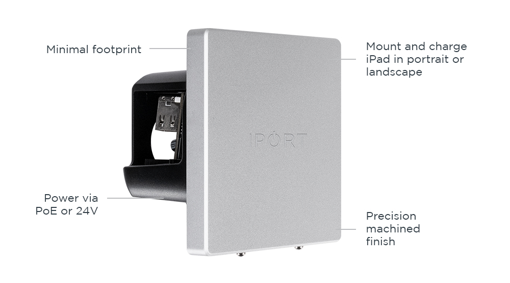 IPORT LUXE WallStation, the premium iPad wall mount and charging station by IPORT in silver.