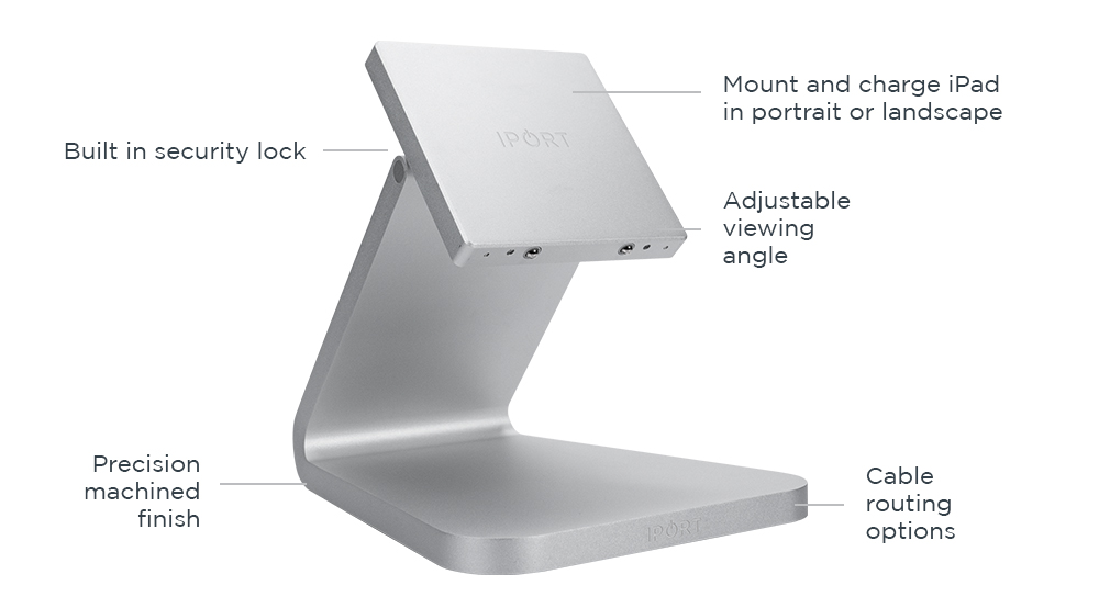 IPORT LUXE BaseStation, the premium iPad wireless charging station by IPORT in silver.