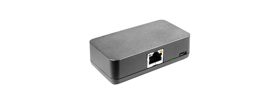 Redpark PoE Splitter that connects iPads to ethernet and uses power over ethernet (PoE) to charge the device.